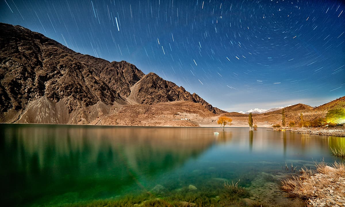 Sadpara lake in moonlight